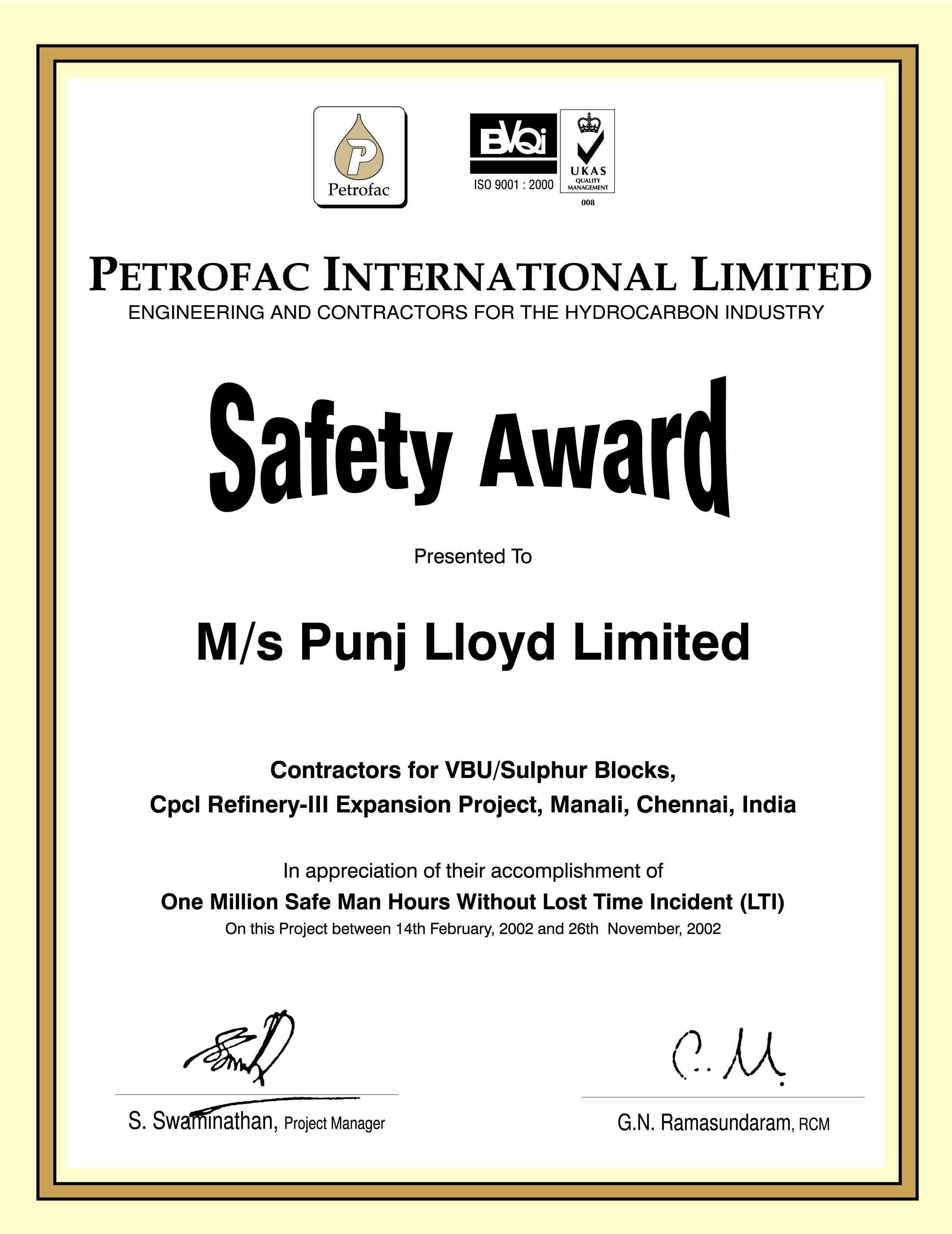 Safety Certificates Punjlloyd